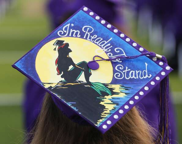 A Montgomery student wears a decorated cap during a graduation ceremony, Tuesday, May 25, 2021, in Montgomery. Photo: Jason Fochtman/Staff Photographer / 2021 © Houston Chronicle