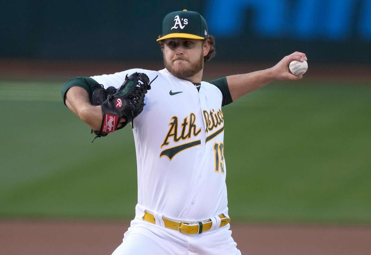 """A's starter Cole Irvin lasted just 4 ?..."""" innings, giving four runs on 10 hits and falling to 3-6."""
