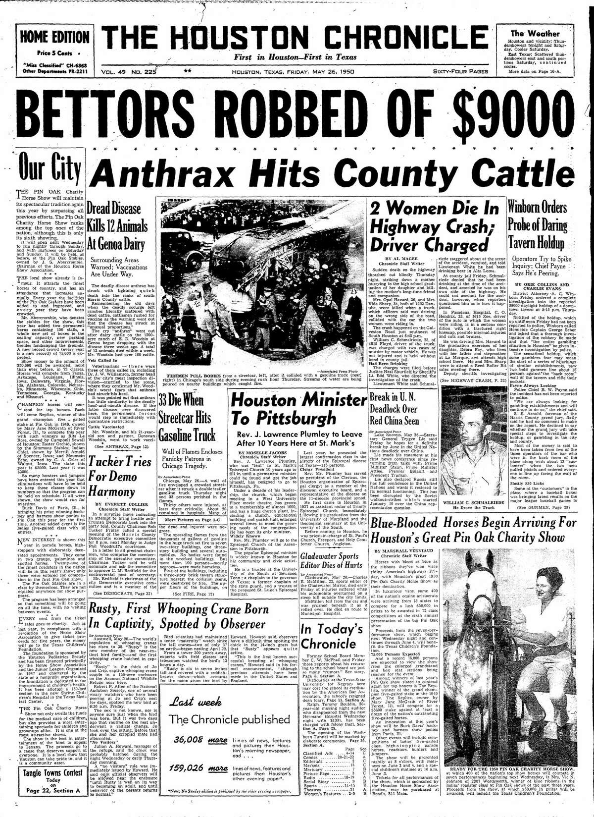 Houston Chronicle headline from May 26, 1950.