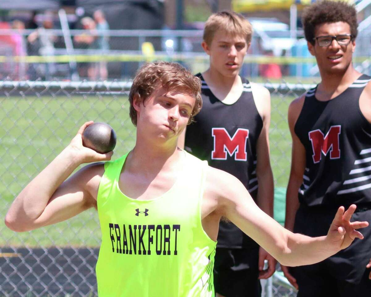 Tucker Hubbard competes in the shot put at track and field regionals on May 22. (Robert Myers/Record Patriot)