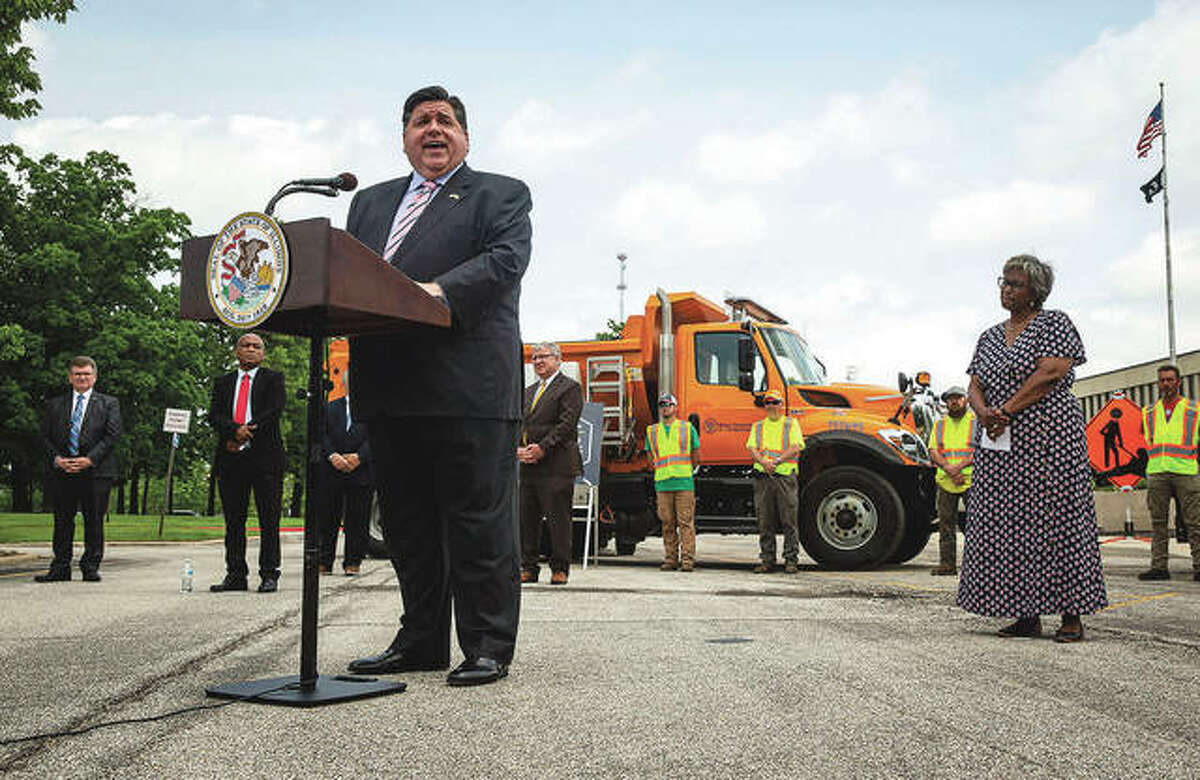 Gov. J.B. Pritzker speaks during a press conference at the Illinois Department of Transportation to announce a splashy, $6 million tourism campaign,