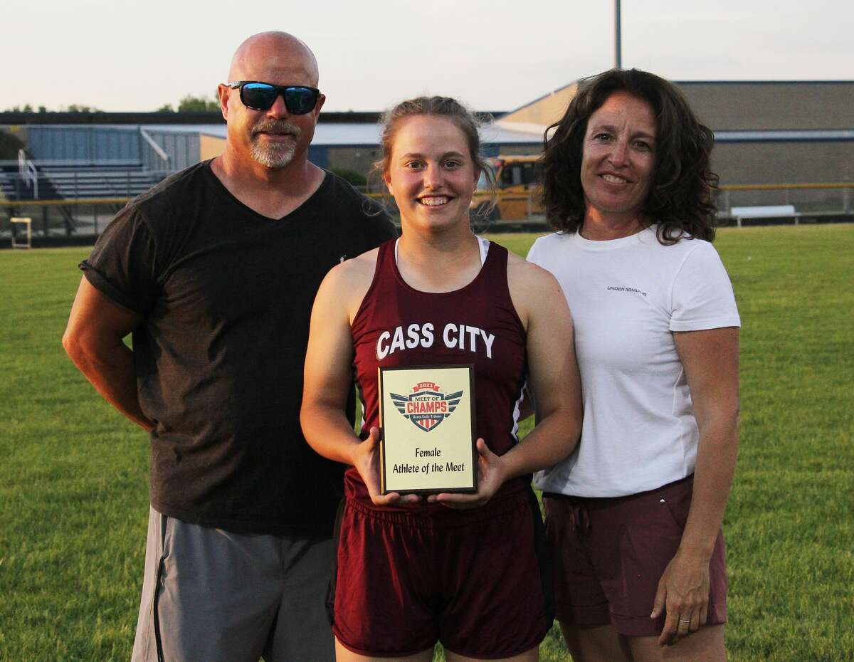 The annual Huron Daily Tribune Meet of Champs took place at Lee Kahler Track at Bad Axe High School on Tuesday. The meet was held for the first time since 2019 after being canceled due to the COVID-19 pandemic in 2020. Cass City's Saylar Cuthrell was named Female Athlete of the Meet and Ubly's Levi Peruski and Cass City's Anthony Boscaglia were named co-Male Athletes of the Meet. Cuthrell finished first in the Girls 100 Meters and Girls 200 Meters and was part of the first-place 4X100 Girls Relay and third-place 4X200 Girls Relay. Peruski finished first in the Boys 110m Hurdles, Boys 300m Hurdles and was part of the second-place 4X100 and 4X400 Relays. Boscaglia, not pictured, placed first in the Boys 100 Meters, Boys 200 Meters, and was part of the first-place Boys 4X100 Relay and third-place Boys 4X200 Relay.