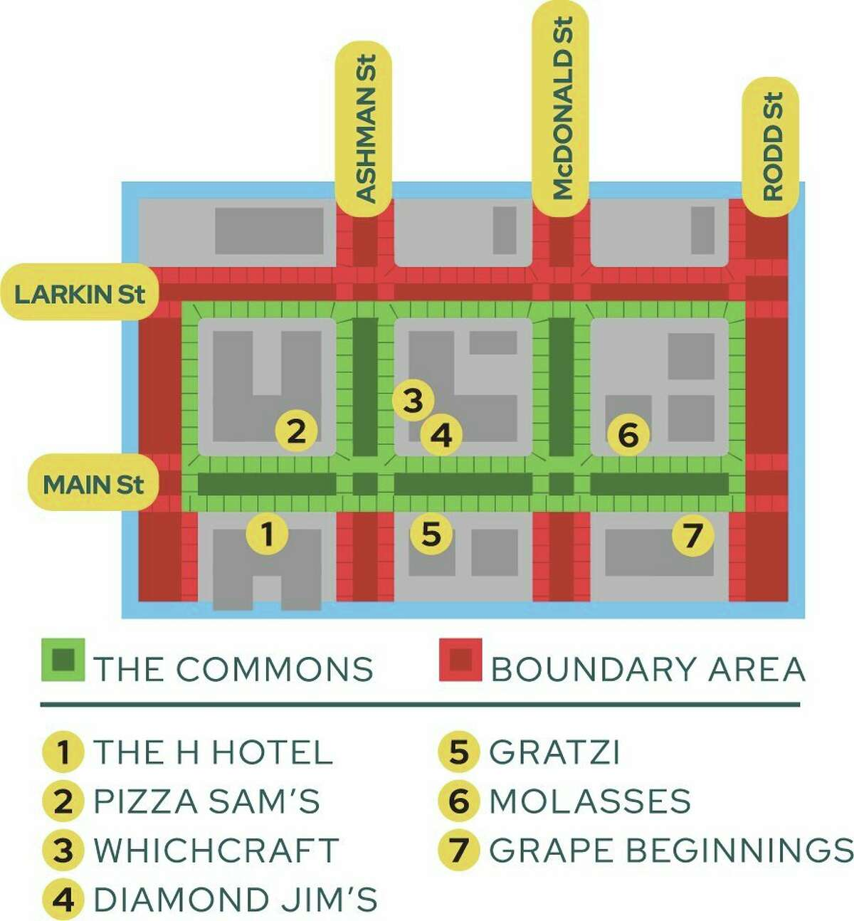 Downtown Midland's Commons area boundariesextend from Gordon Street to Rodd Street and Main Street to Larkin Street. (Image provided)