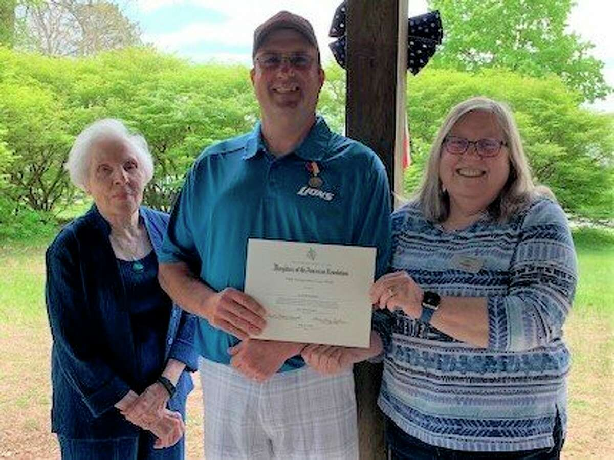 Shirley Russell, Scott McFarland and Julia Lauless at a recent meeting ofthe John Alden Chapter, Daughters of the American Revolution. (Photo provided)