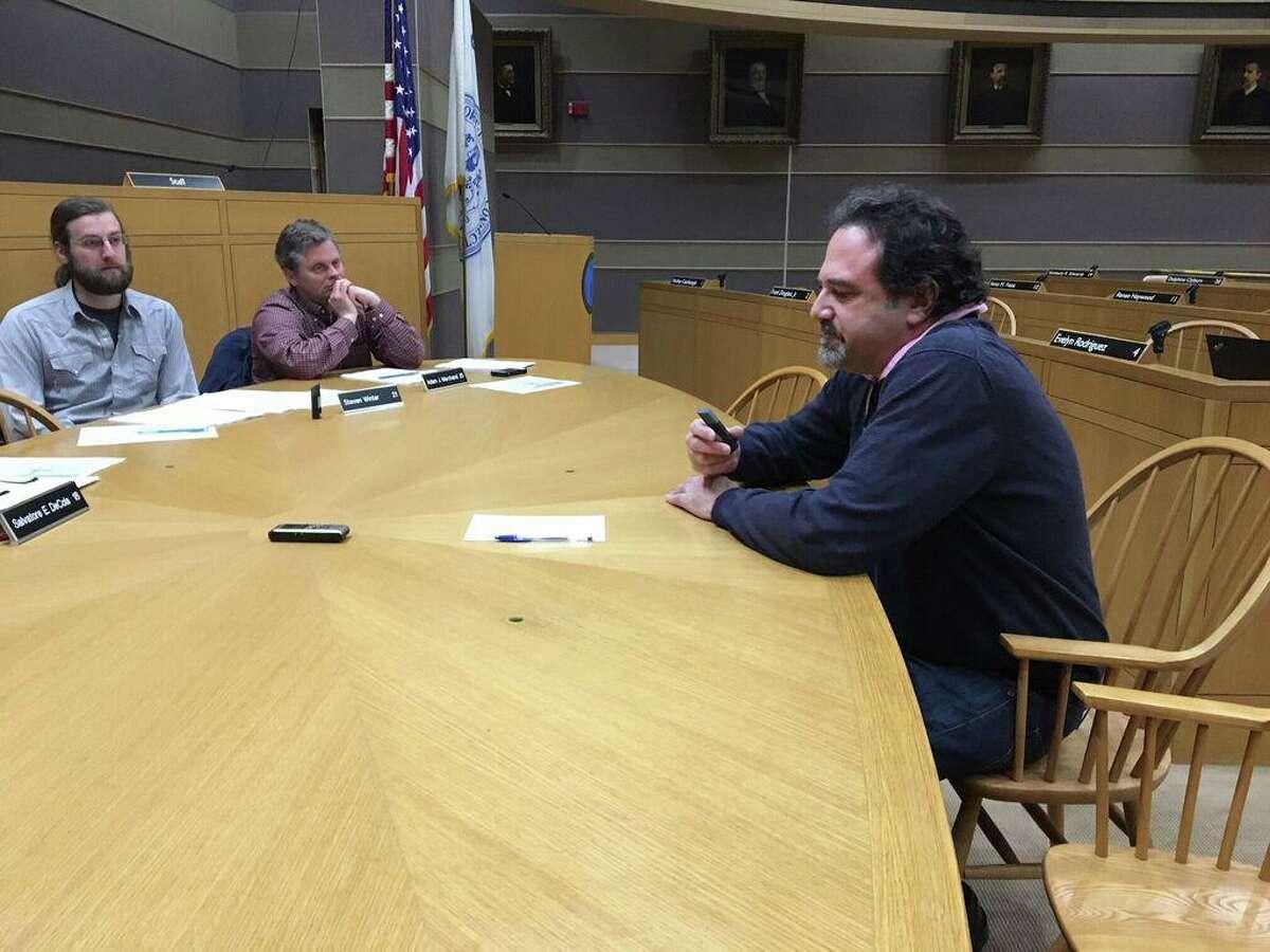 Elia Alexiades of Woodbridge speaks to New Haven alders.