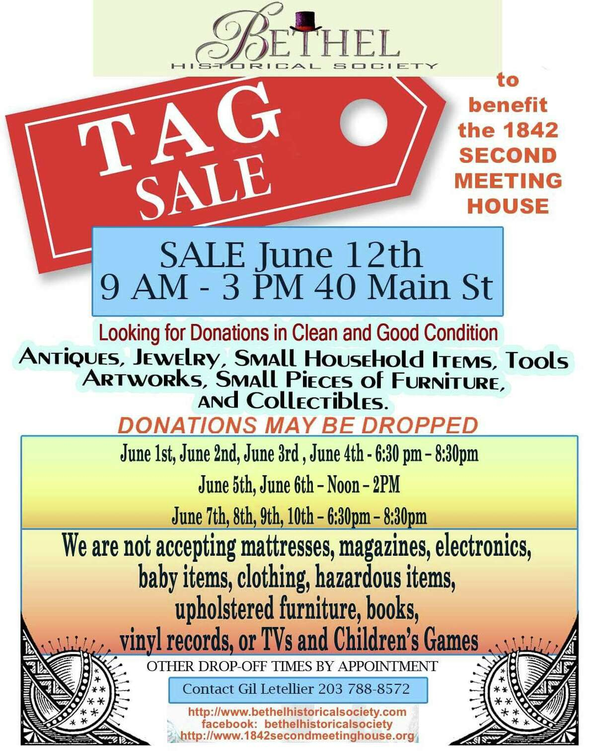 The Bethel Historical Society will hold a tag sale June 12, 2021, to benefit the 1842 Second Meeting House, the society's home at 40 Main St.