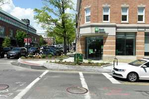 The newly renovated intersection of Greenwich Avenue and Elm Street in Greenwich, Conn. Monday, May 17, 2021.