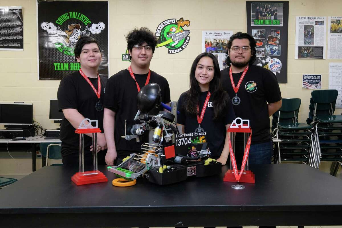 The J. W. Nixon High School Light Horse Robotics Team is advancing to the Texas State UIL Robotics Championship for the second year in a row. Pictured L-R are Jason Gamez, Jessie Bryand, Daniella Caballeros, and Isaias Rosales.