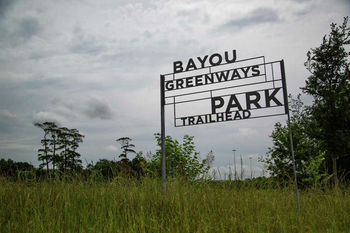 Bayou Greenways Park Trailhead entrance, Friday, May 21, 2021, in Houston.