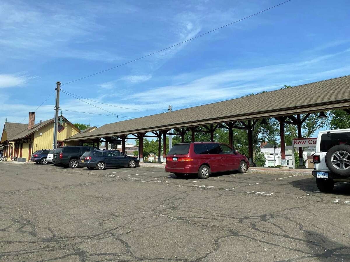 There are still a lot of available spots in the New Canaan Train Station parking lot, as commuters work at home during COVID-19. The photo was taken in the afternoon on Tuesday, May 25, 2021.