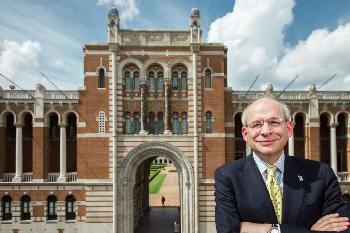 Rice University President, David Leebron, poses for a portrait in front of Lovett Hall, Friday, Sept. 28, 2012, in Houston. ( Michael Paulsen / Houston Chronicle )