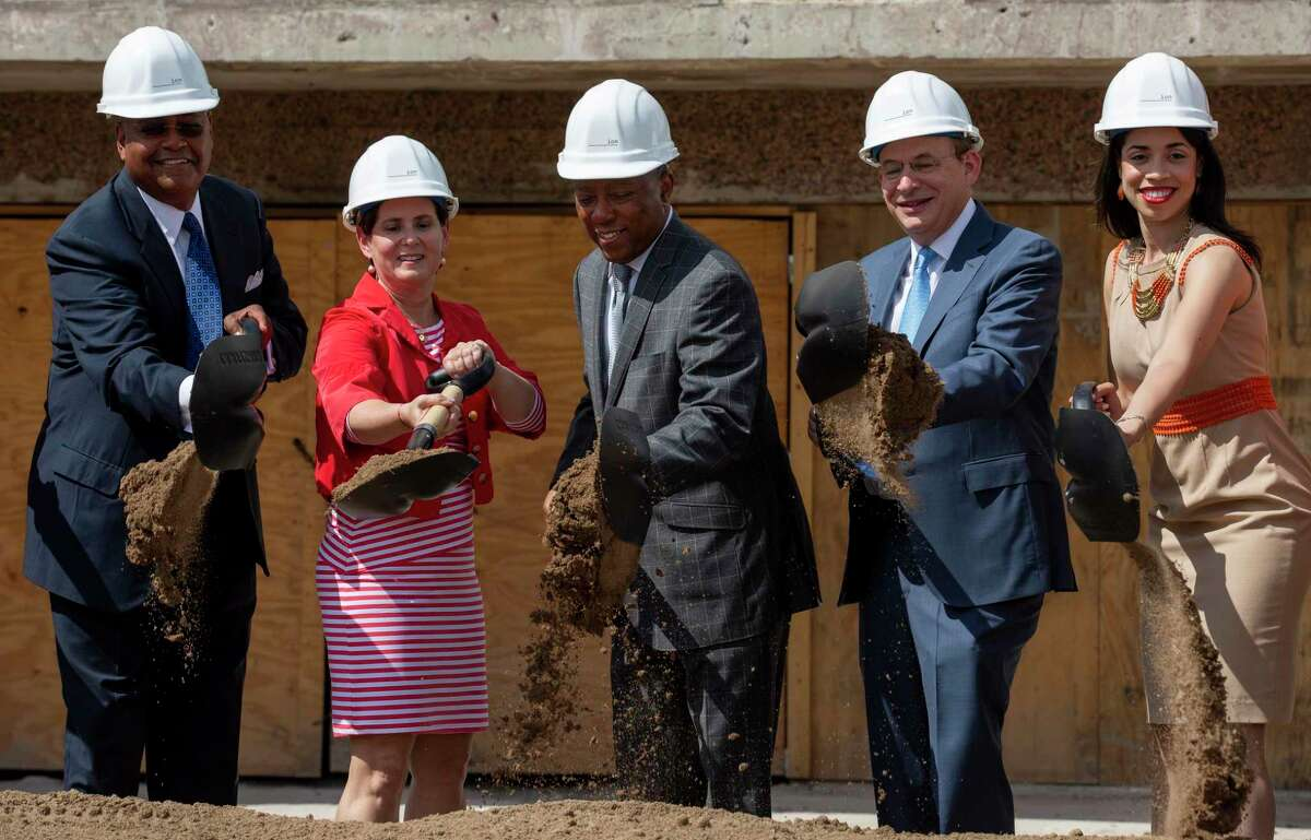 Commissioner Rodney Ellis, left to right, Station Houston CEO Gabriella Rowe, mayor Sylvester Turner, Rice president David Leebron, and council member Amanda Edwards shovel dirt during the groundbreaking celebration for the Ion building Friday, July 19, 2019, in Houston. The Ion will be part of the innovation district being created by Rice University.