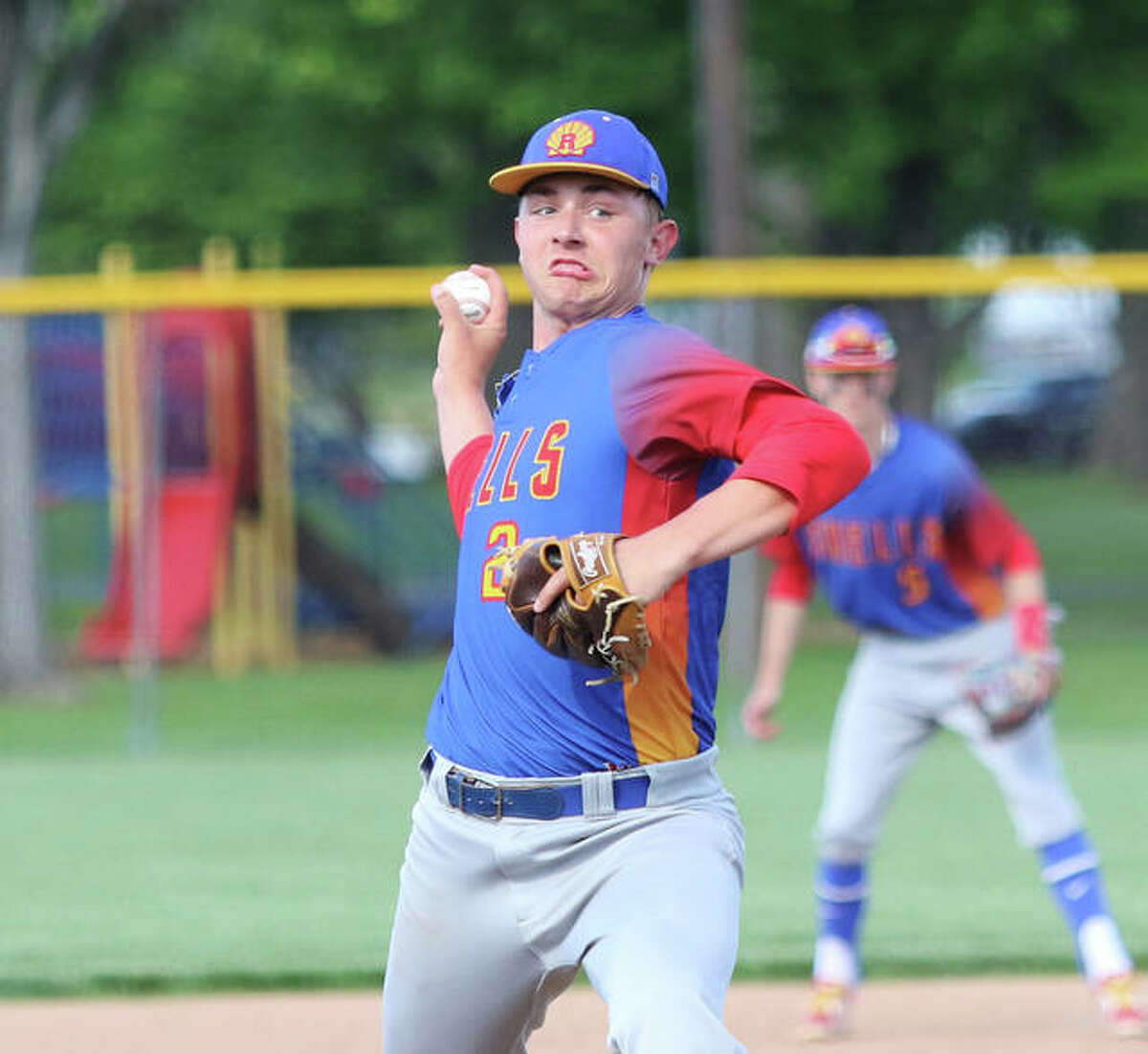 Roxana pitcher Gavin Huffman, shown in a game earlier this month in Roxana, was back on his home field Tuesday and struck out 12 in a shutout against Jersey at Roxana Park.
