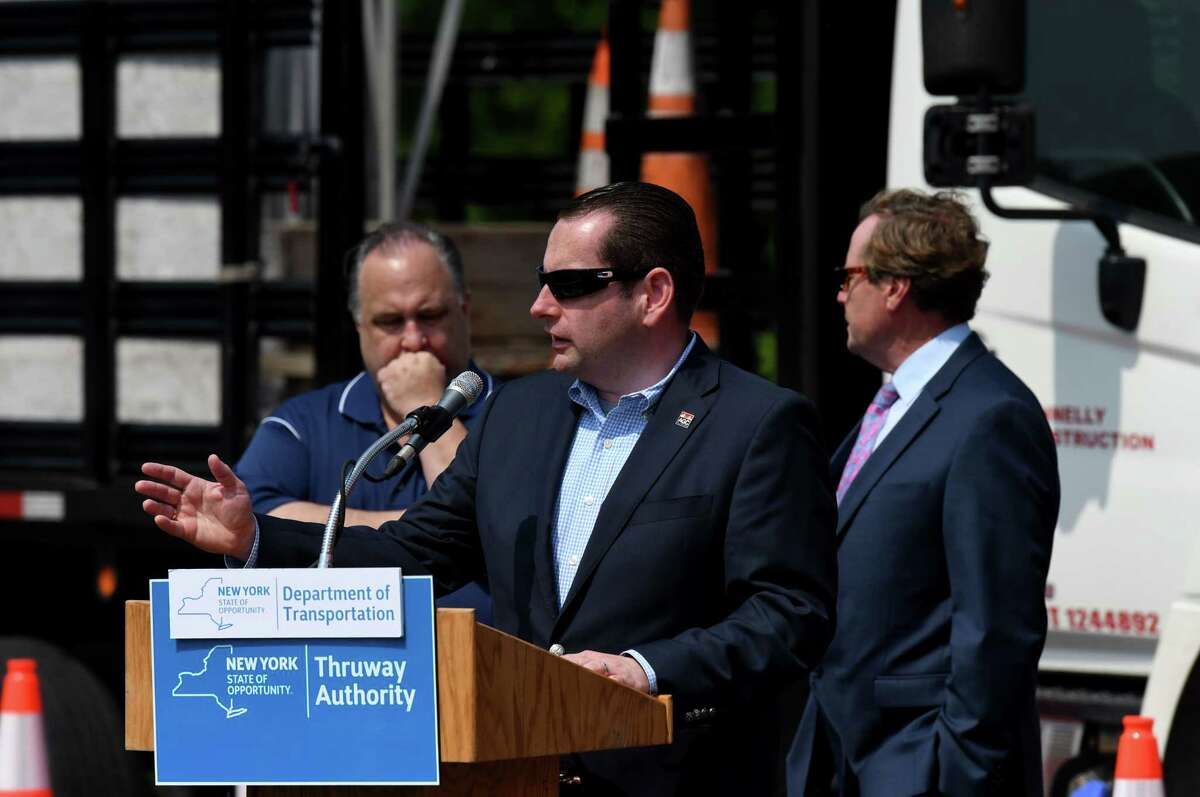 Mike Elmendorf, president and CEO of the Associated General Contractors of America of New York, joins state transportation officials in urging drivers to pay attention in highway construction zones as motorists take to the roads for the summer travel season on Wednesday, May 26, 2021, at the I-87 rest area in Clifton Park, N.Y. Two work zone intrusions resulting in worker hospitalizations occurred in the Capital Region within the last 3 weeks. (Will Waldron/Times Union)