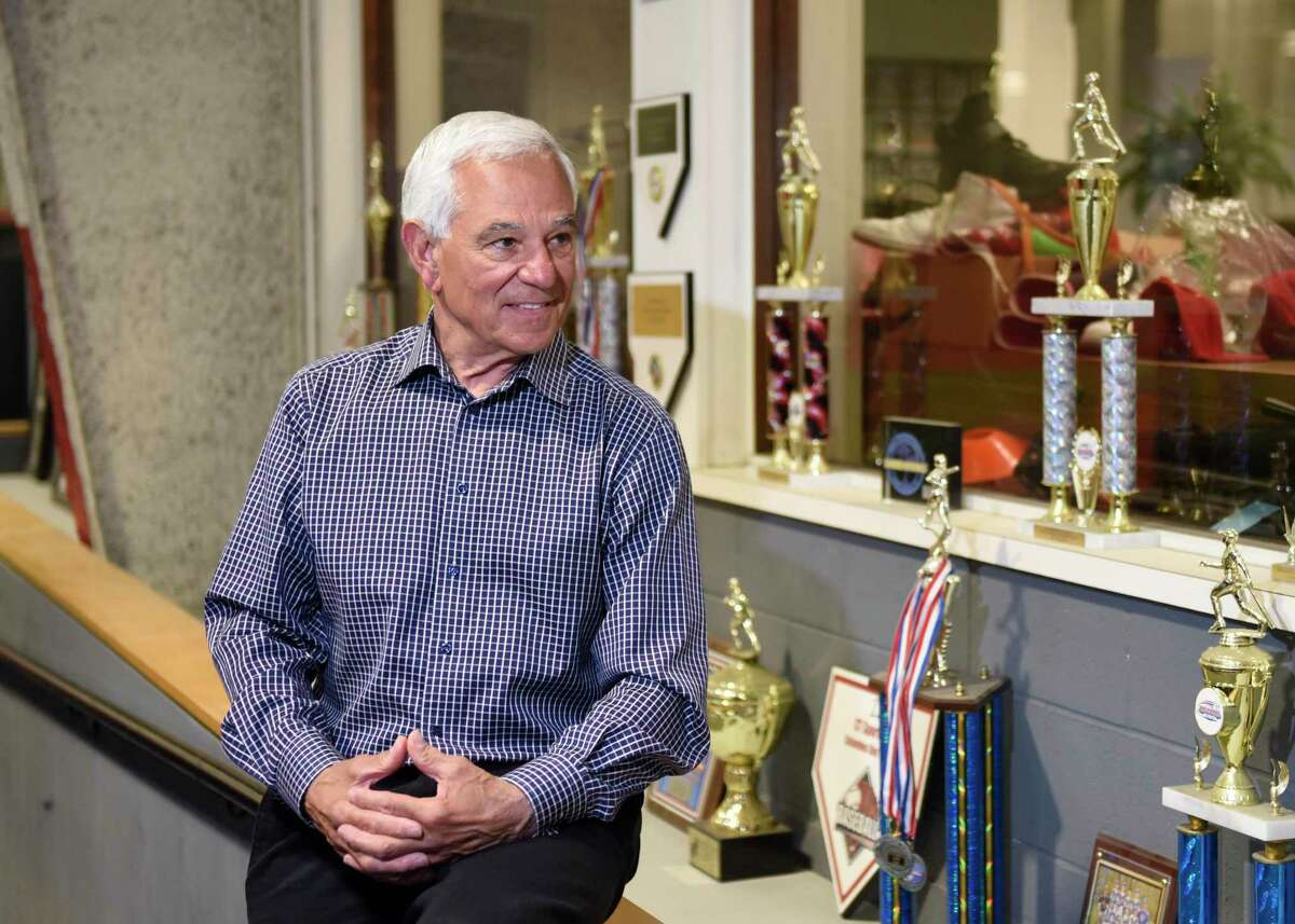 Bobby Valentine poses at Bobby Valentine's Sports Academy in Stamford, Conn. Wednesday, May 5, 2021. The renowned baseball player and manager announced that he is running for mayor of Stamford as an unaffiliated candidate.