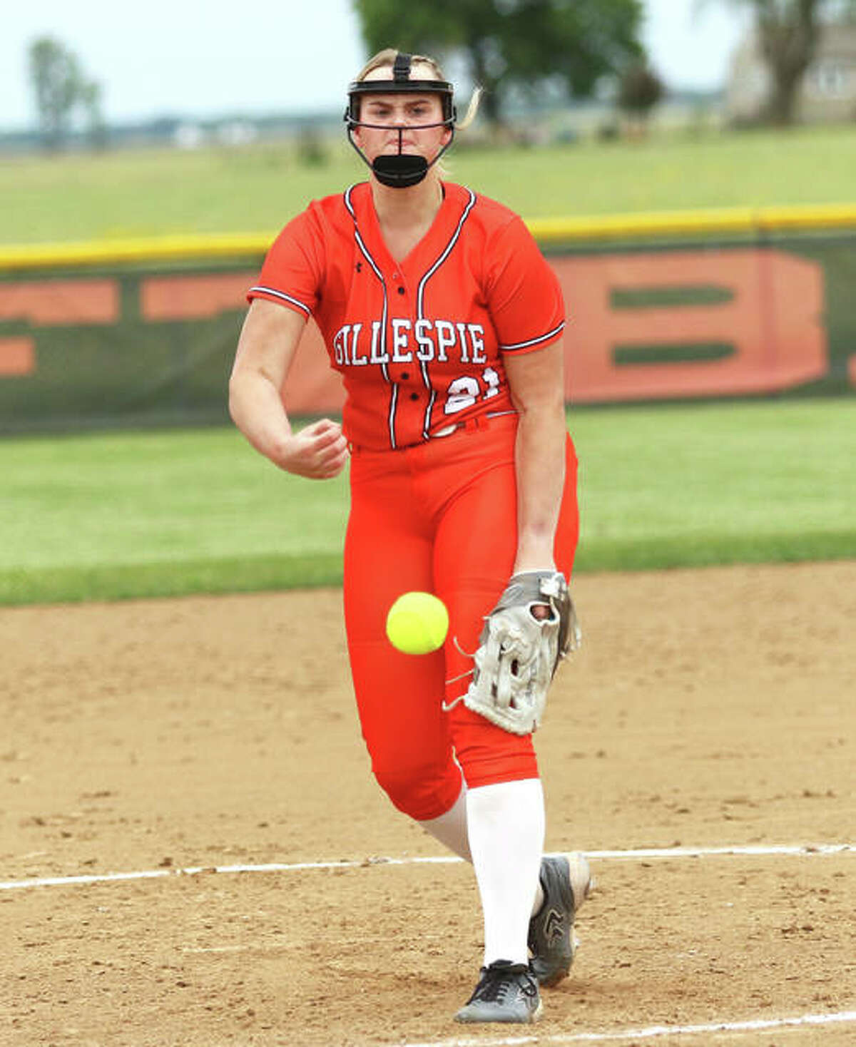 Gillespie senior Sydney Bires, shown pitching in a game earlier this season in Gillespie, threw a no-hitter on Tuesday in the Miners' SCC win over Roxana in Gillespie.