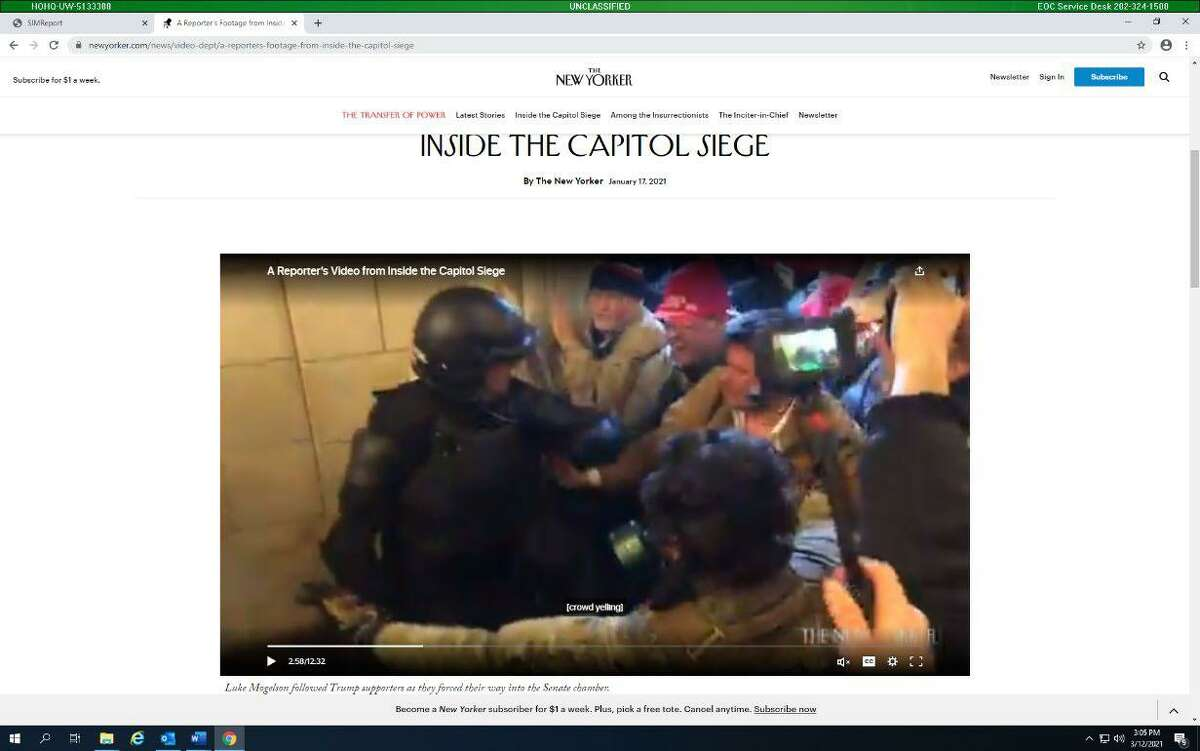 Adam Mark Weibling is wearing a suede jacket as he faces off against Capitol police on Jan. 6, according to court documents.