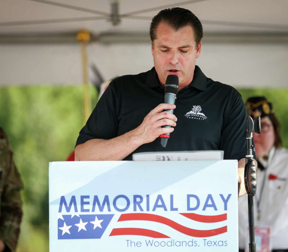 The Woodlands Township Chairman Gordy Bunch speaks during the Memorial Day Festival on Sunday, May 27, 2018, at Town Green Park in The Woodlands. This year's event is from 5-9 p.m. at Town Green Park, 2099 Lake Robbins Drive. Attendees can celebrate the military and honor service members who lost their lives for the United States with a community celebration capped off by a fireworks show.