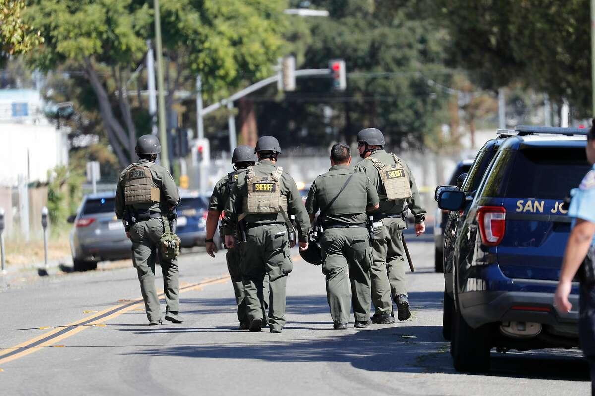 Sheriff's deputies responding to the San Jose shooting.