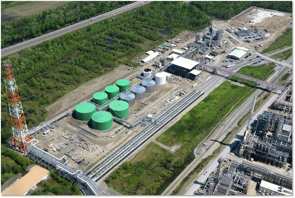 Tanks that store animal fat sit at the Diamond Green Diesel plant at Valero's refinery in St. Charles, La., bottom right. Valero has boosted production at the renewable diesel refinery. The liquid fuel is produced from animal fats and waste products, such as used cooking oils.