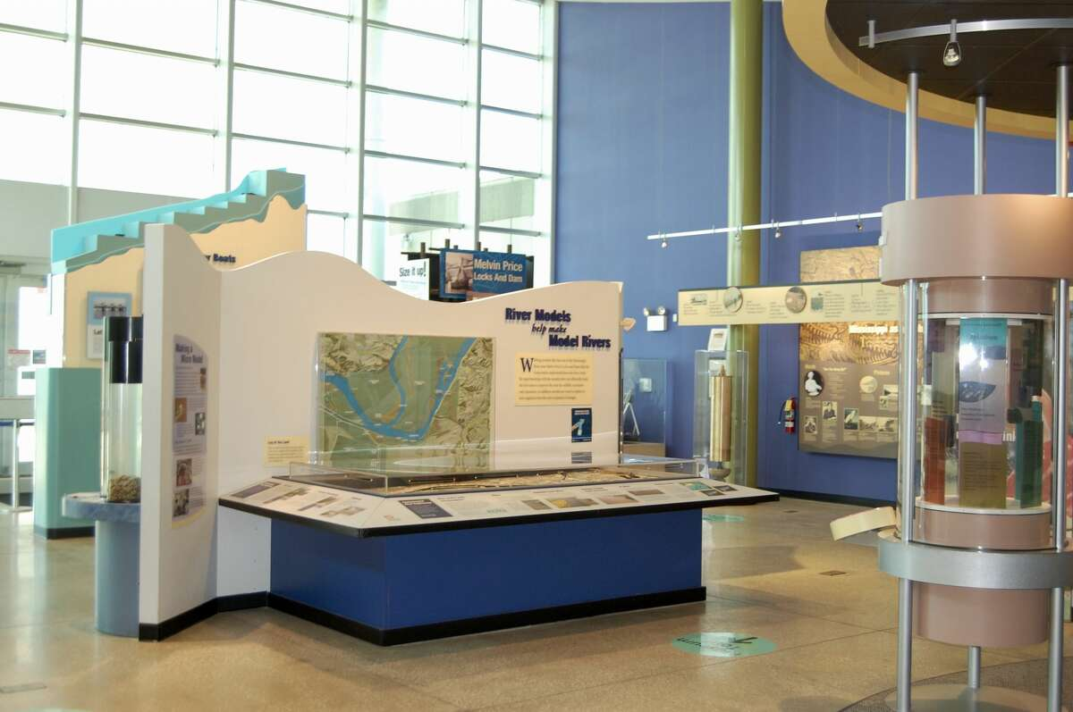 Several of the exhibits and displays at the National Great Rivers Museum in Alton, Illinois show visitors how work is conducted along the water, as well as life on the water.