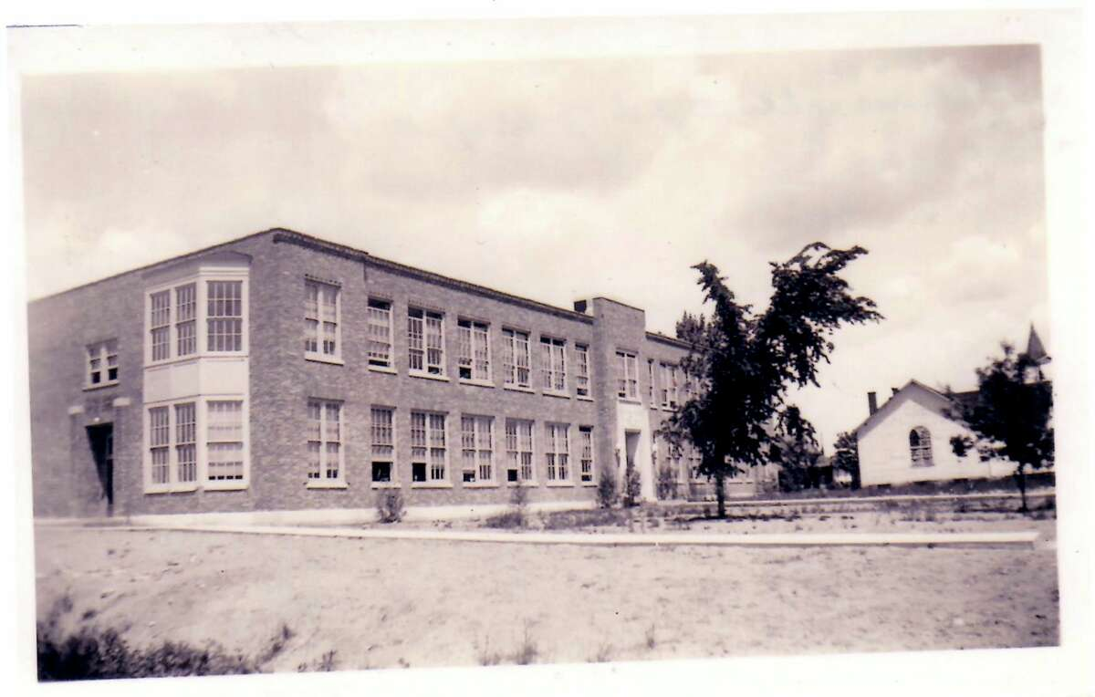 The original Barryton Elementary building stands newly erected in 1935, rebuilt following the collapse of the first building. (Courtesy/Barryton Area Historical Museum)