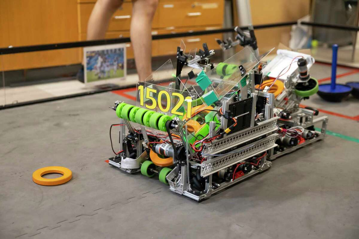 Robot 15021 is seen during a robotics practice at The Woodlands High School, Wednesday, May 19, 2021, in The Woodlands. The two teams were the only ones to advance in the district to compete in regionals.