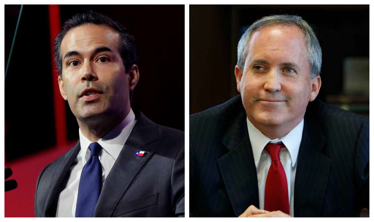 Texas Land Commissioner George P. Bush, left and Attorney General Ken Paxton.