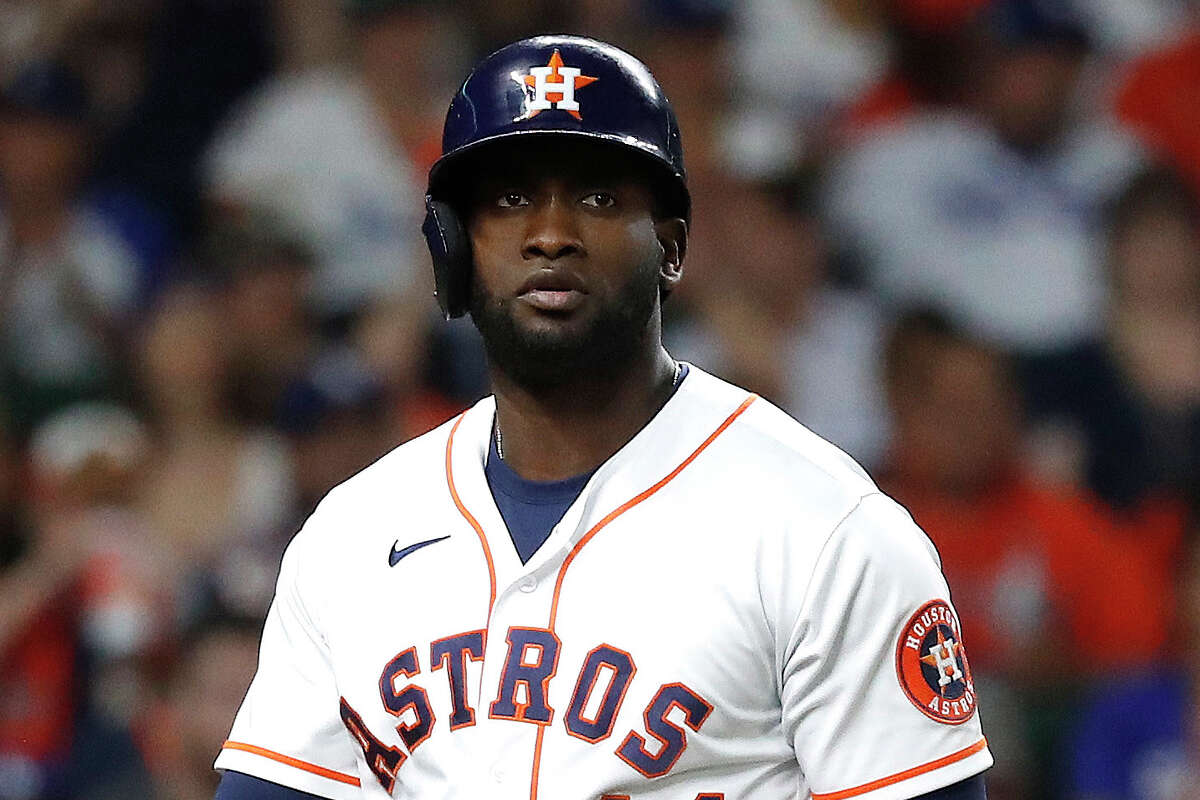 Houston Astros designated hitter Yordan Alvarez (44) strikes out against Los Angeles Dodgers starting pitcher Clayton Kershaw during the seventh inning of an MLB baseball game at Minute Maid Park, Tuesday, May 25, 2021, in Houston.