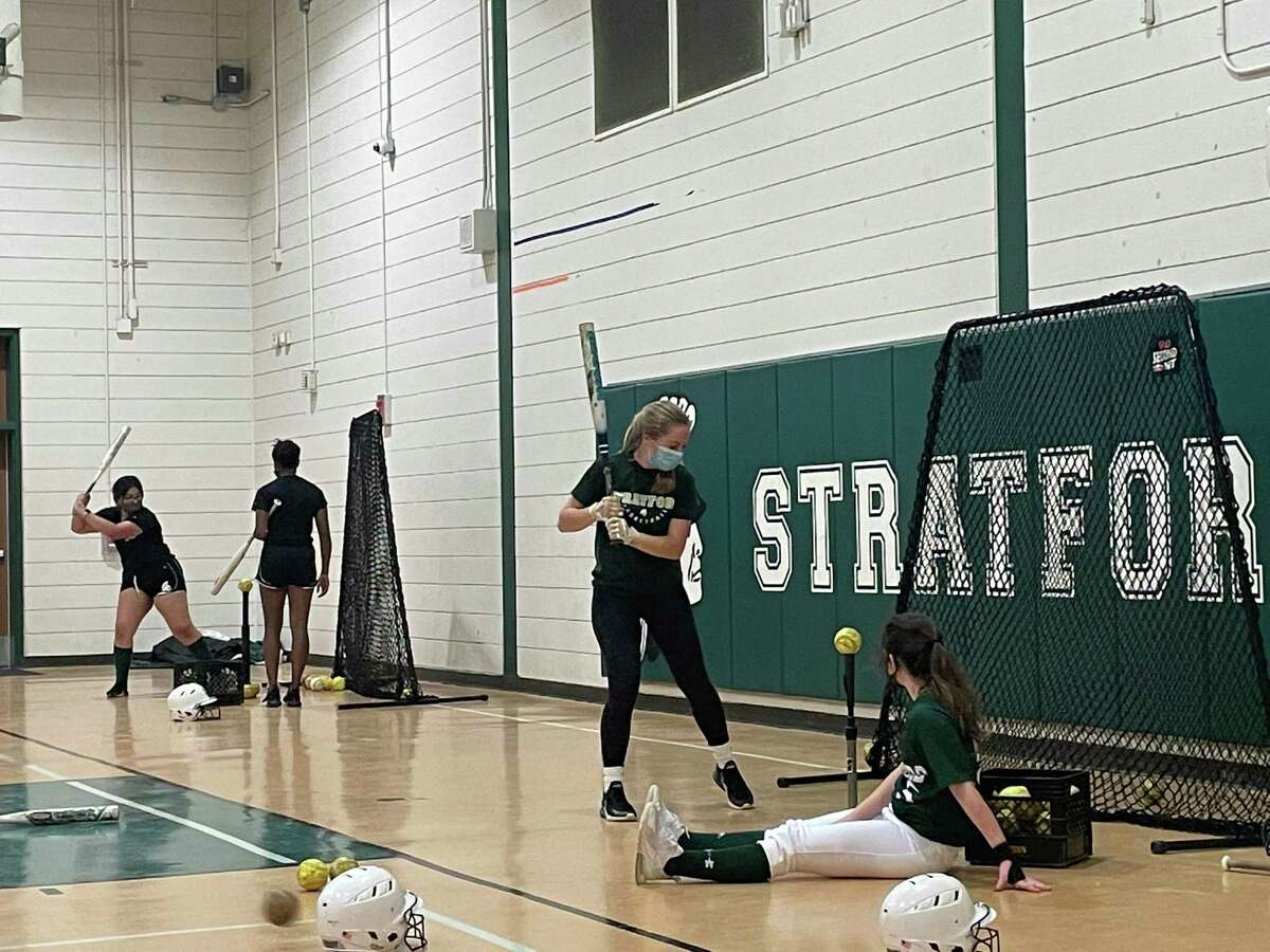 The Stratford softball team held its preseason practice inside on the afternoon of Feb. 11 due to the cold and the rain