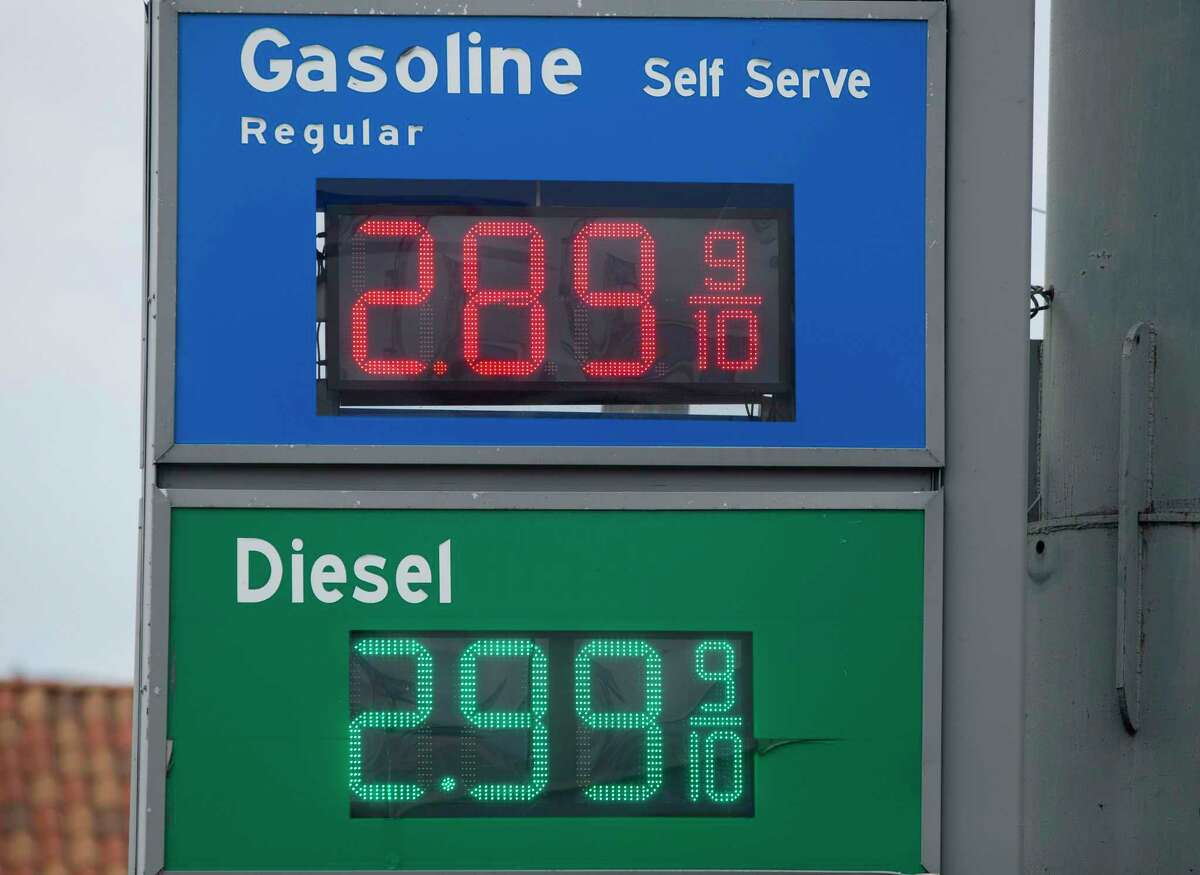 A gas price sign is photographed Tuesday, May 25, 2021, in Houston.