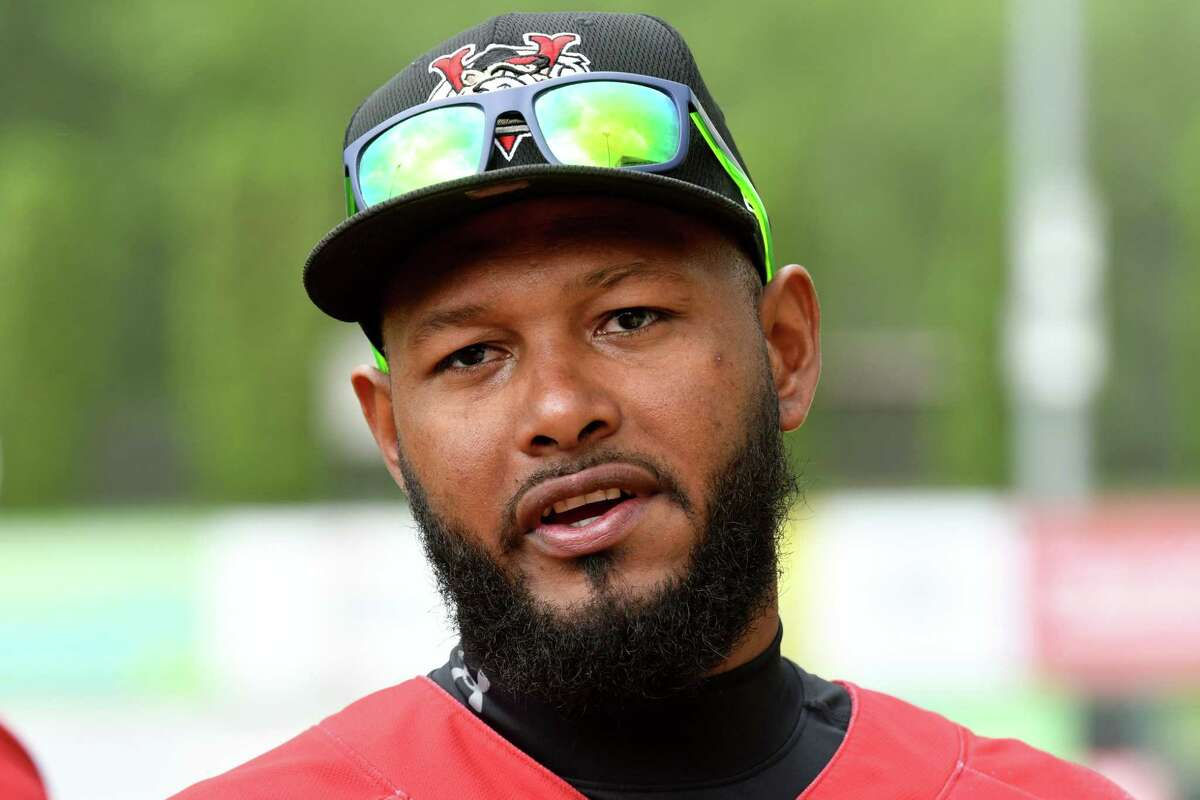 Tri-City ValleyCats infielder Juan Silverio is interviewed during a media day event for the team on Wednesday, May 26, 2021, at Joseph L. Bruno Stadium in Troy, N.Y. (Will Waldron/Times Union)
