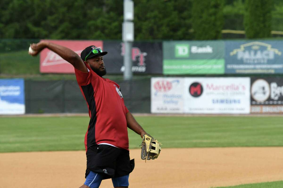 Tri-City ValleyCats infielder Juan Silverio practices with teammates during a media day event for the team on Wednesday, May 26, 2021, at Joseph L. Bruno Stadium in Troy, N.Y. (Will Waldron/Times Union)