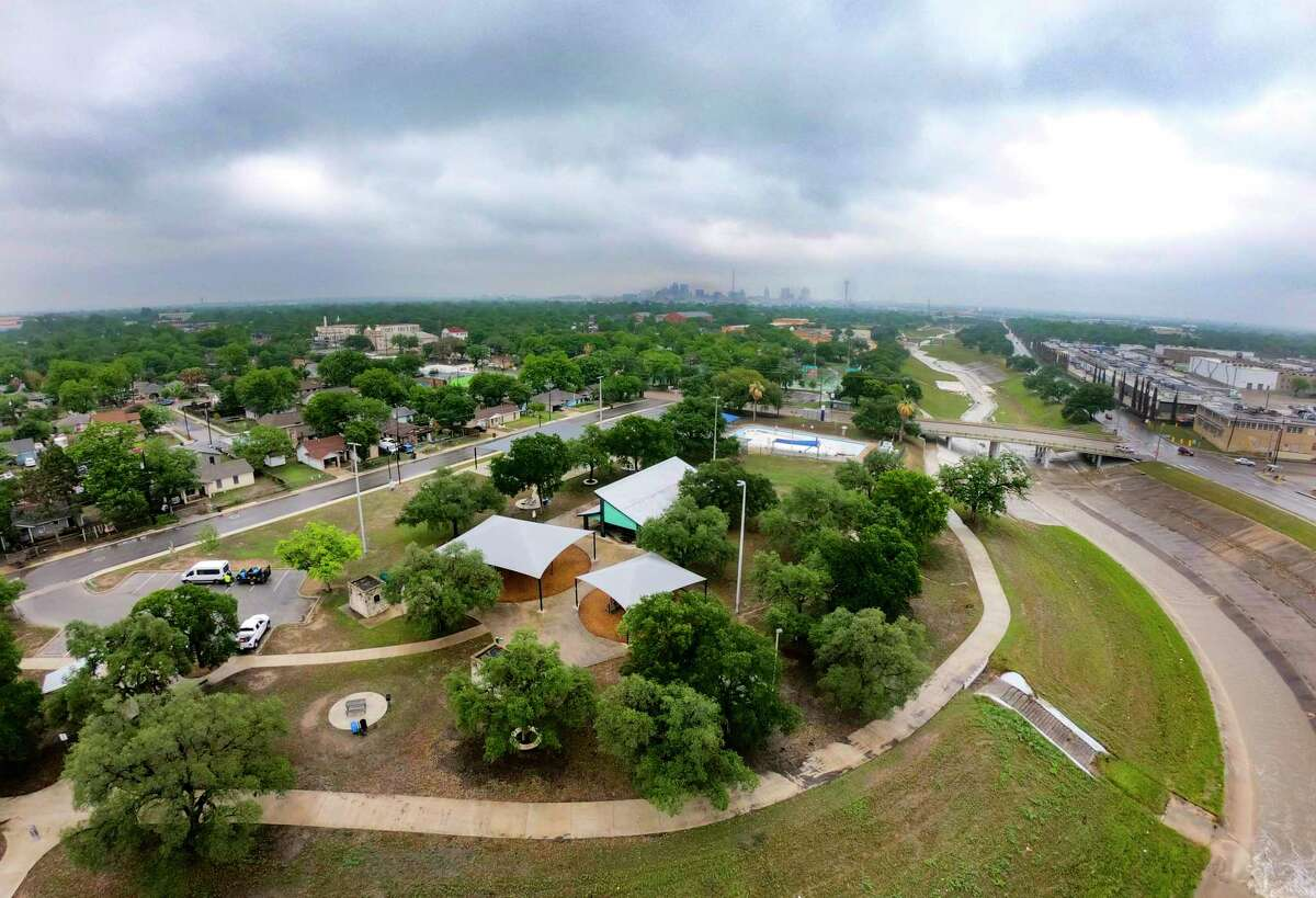 Cassiano Park at Apache Creek is seen on the cloudy morning of Thursday, April 29, 2021. It is part of the Westside Creeks project, which encompasses hike-and-bike trails and natural ecosystem restoration on five creeks flowing through and near San Antonio's West Side.