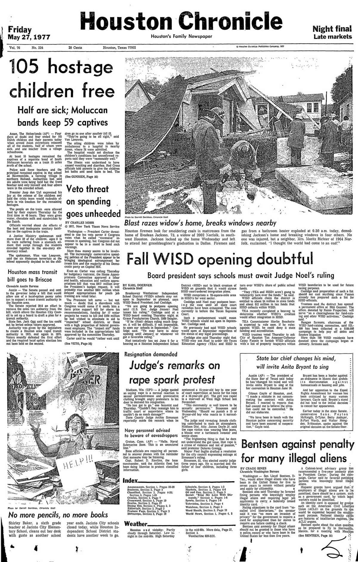 Houston Chronicle front page for May 27, 1977.