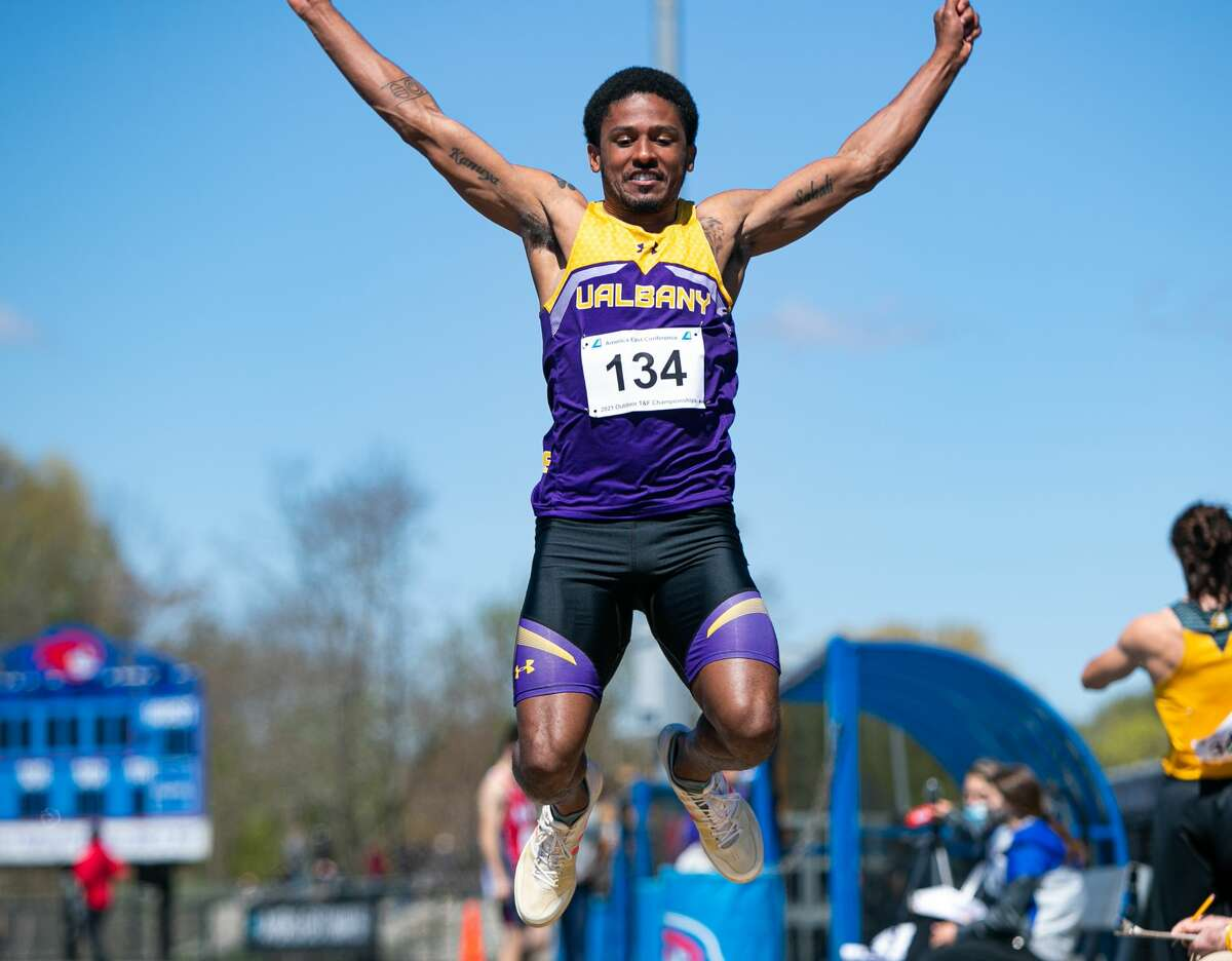 Amsterdam graduate Omari Sturdivant of the UAlbany track and field team. He is competing in the triple jump at the East Preliminary meet in Florida on Friday, May 28, 2021.