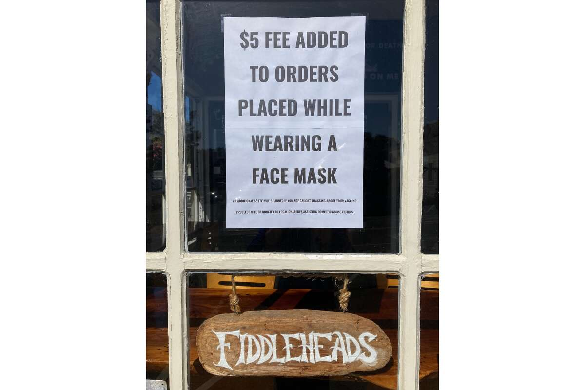 Fiddleheads Cafe is located at 10450 Lansing in Mendocino. The restaurant posted signs on May 24 that said patrons would be charged an additional $5 fee for wearing face masks.