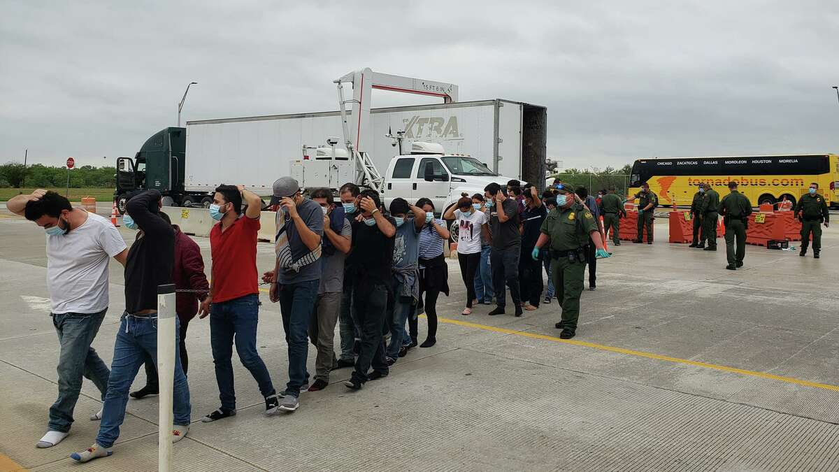 U.S. Border Patrol said they discovered more than 40 migrants inside a trailer at the Interstate 35 checkpoint.