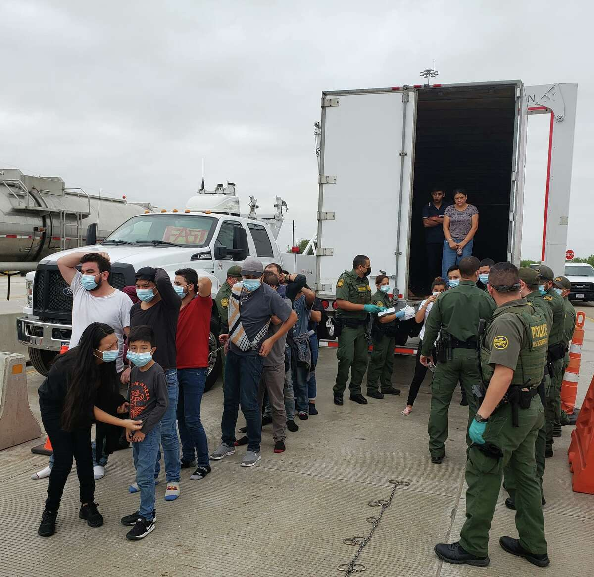 U.S. Border Patrol said that a mother and son were found inside a trailer where more than 40 migrants were discovered.