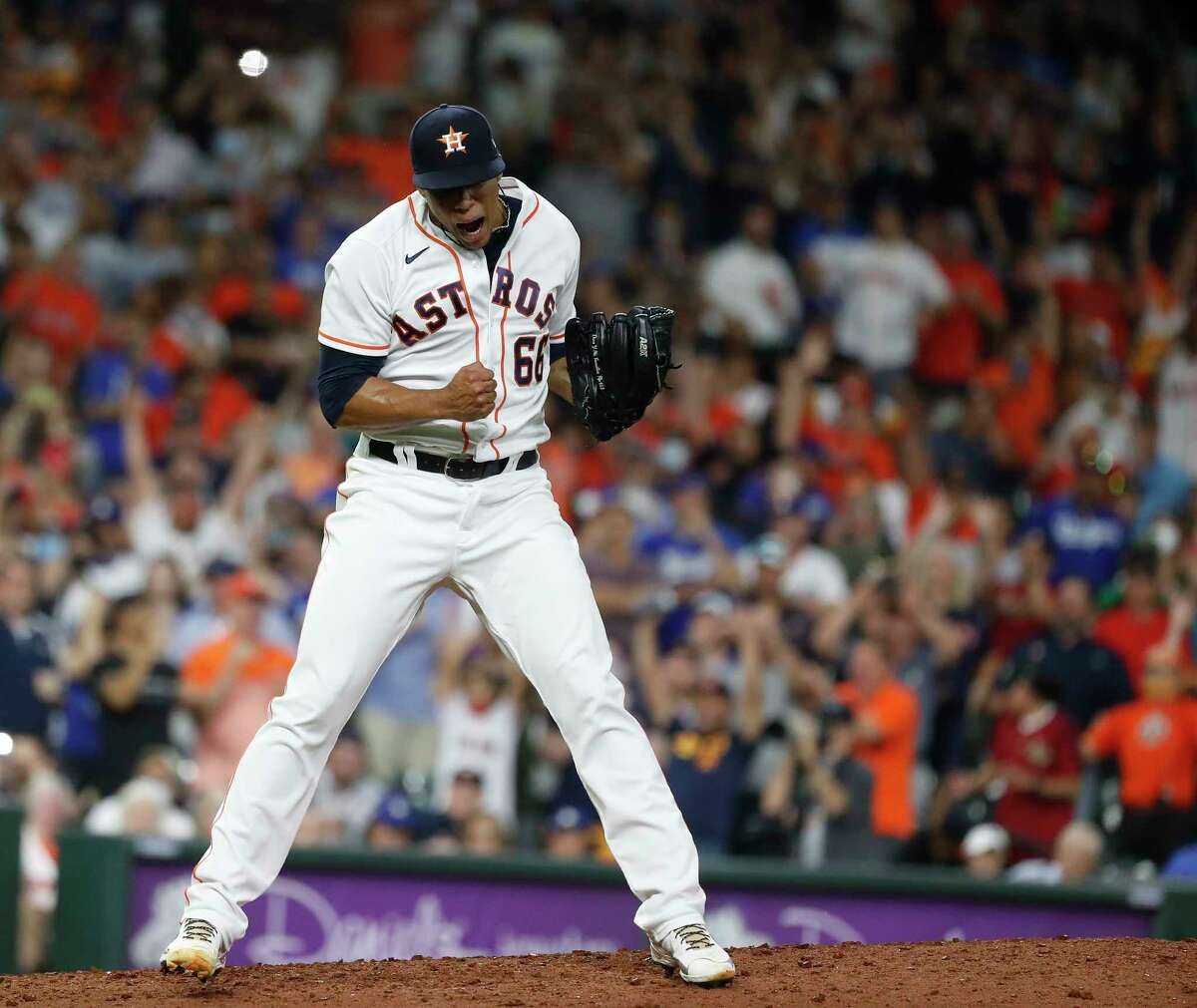 Bryan Abreu was able to celebrate a save Wednesday against the Dodgers, but getting there was an adventure for the Astros' beleaguered bullpen.
