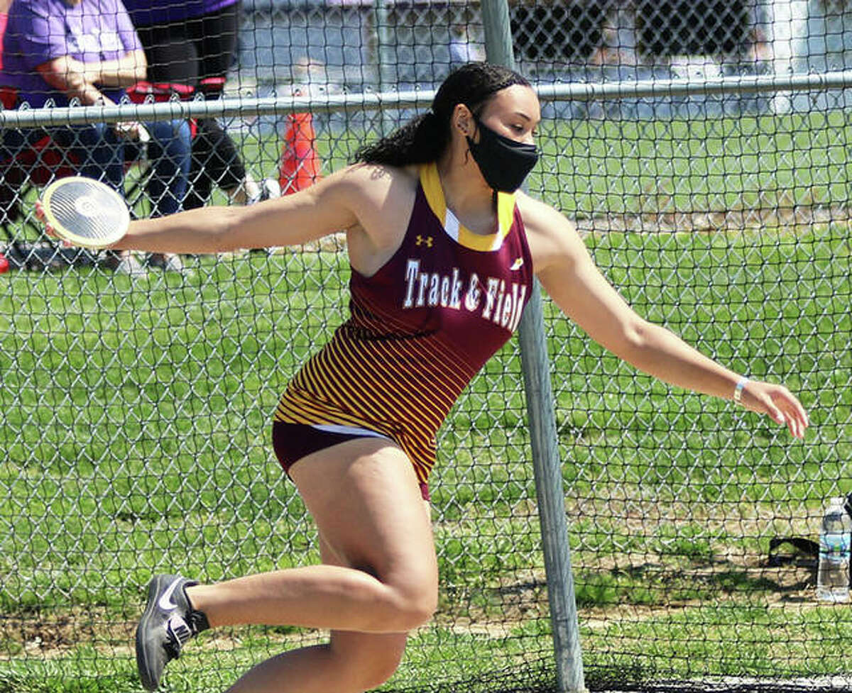 EA-WR's Jayden Ulrich set the state record in the discus on Wednesday at the Popeye and Olive Oyl Invitational in Chester. Ulrich got off a throw of 168 feet, 1 1/2 inches to surpass the 11-year-old mark set by Carlinville's Kelsey Card at 167-4 in 2010. Ulrich now owns three of the top four discus throws in state history after just putting out a toss of 166-8 in a Monday quad in Wood River. Earlier this season, Ulrich set the all-time state record in the shot put at 51 feet, 10.75 inches.