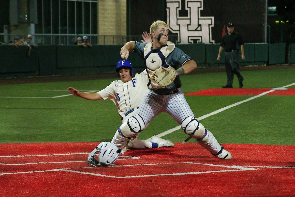 College Station's Chanden Scarmardo (3) tries for the double play as Friendswood's Devon Andrews (6) is forced out at home plate Wednesday, May 26 at the University of Houston.