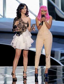 LOS ANGELES, CA - SEPTEMBER 12:  Singers Katy Perry (L) and Nicki Minaj speak onstage during the 2010 MTV Video Music Awards at NOKIA Theatre L.A. LIVE on September 12, 2010 in Los Angeles, California.  (Photo by Kevin Winter/Getty Images) *** Local Caption *** Katy Perry;Nicki Minaj Photo: Kevin Winter, Getty Images / 2010 Getty Images