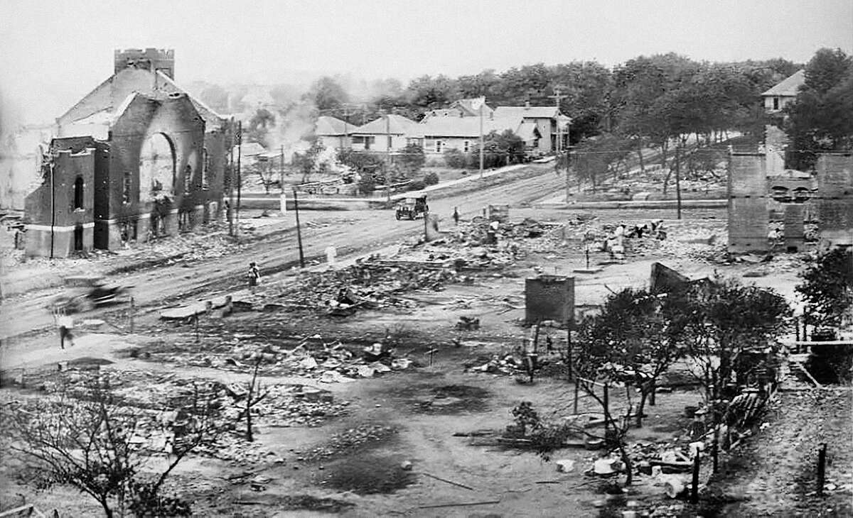 Part of Greenwood District burned in Race Riots, Tulsa, Oklahoma, USA, June 1921.