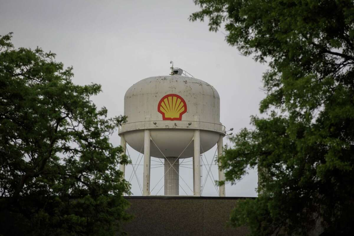Signage for Royal Dutch Shell at a refinery near the Enbridge Line 5 pipeline in Sarnia, Ontario, on May 25, 2021.