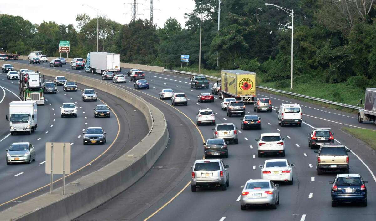Traffic along Interstate 95 near Exit 4 in the Cos Cob section of Greenwich, Conn.
