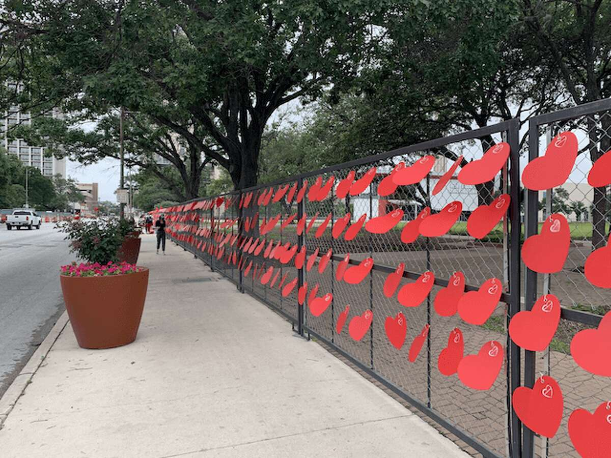 Each red heart represents a life lost to COVID-19 in San Antonio.