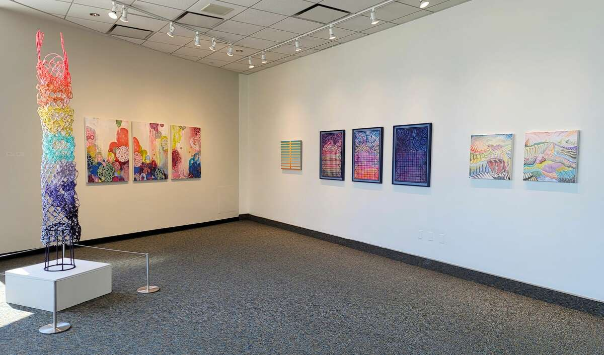 """A view of one corner of the exhibit """"Sunrise Sunset,"""" running through Aug. 30 at Albany International Airport in Colonie. (Provided photo.)"""