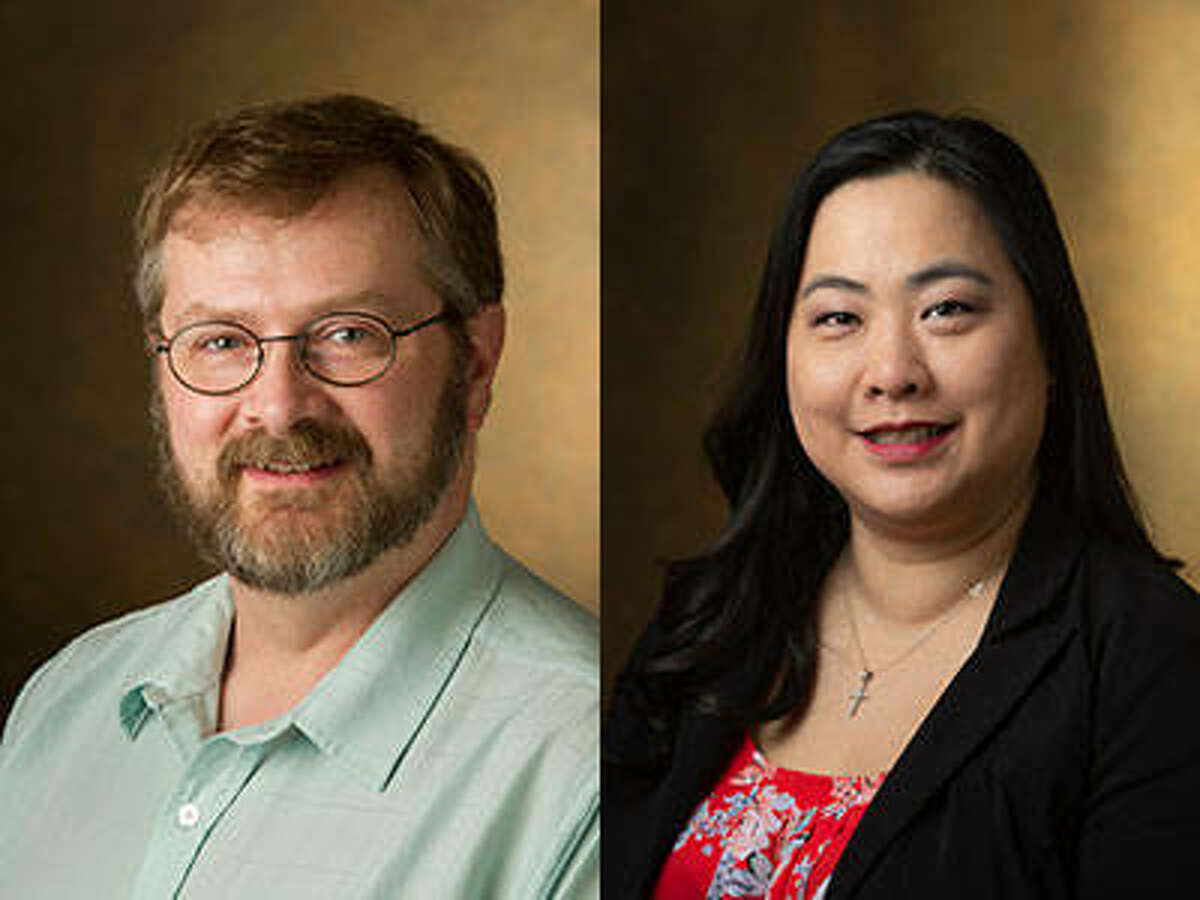 SIUE's Michael Shaw, PhD, Distinguished Research Professor in the Department of Chemistry, and Jingyang Fan, PharmD, BCPS, clinical associate professor and School of Pharmacy assistant dean for academic affairs.