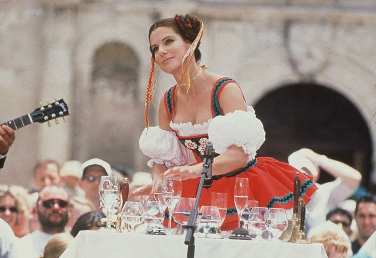 The Alamo makes a picturesque backdrop as Miss New Jersey (Bullock) demonstrates her unusual talent.
